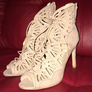 Nude Lace Up Open toe Bootie